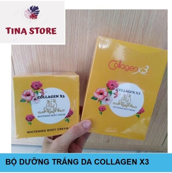 Bộ Kem và Tắm Collagen X3 Cho Da và Body - Mẫu Mới