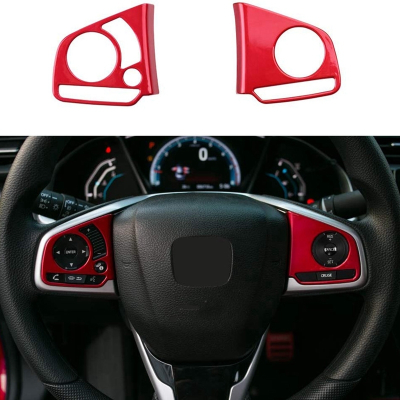 Steering Wheel Button Inner Decoration Cover Sticker Trim for 10Th Gen Honda Civic 2016-2020 Red