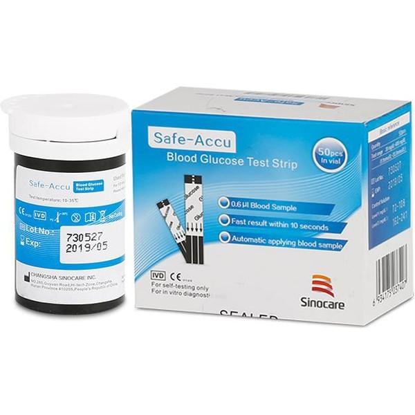 Nơi bán Que thử đường huyết Safe Accu Sinocare 50 que + 50 Kim chích máu