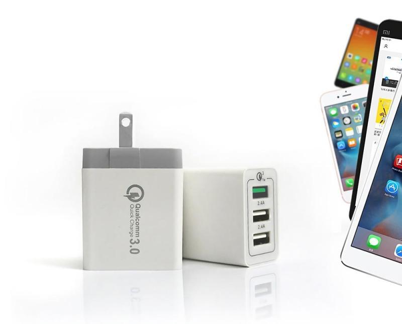 Giá Củ sạc nhanh 3.0 ,Qualcomm 3 cổng , cốc sạc nhanh, củ sạc cho iphone, samsung, oppo, huawei ...(Tiêu chuẩn Mỹ)