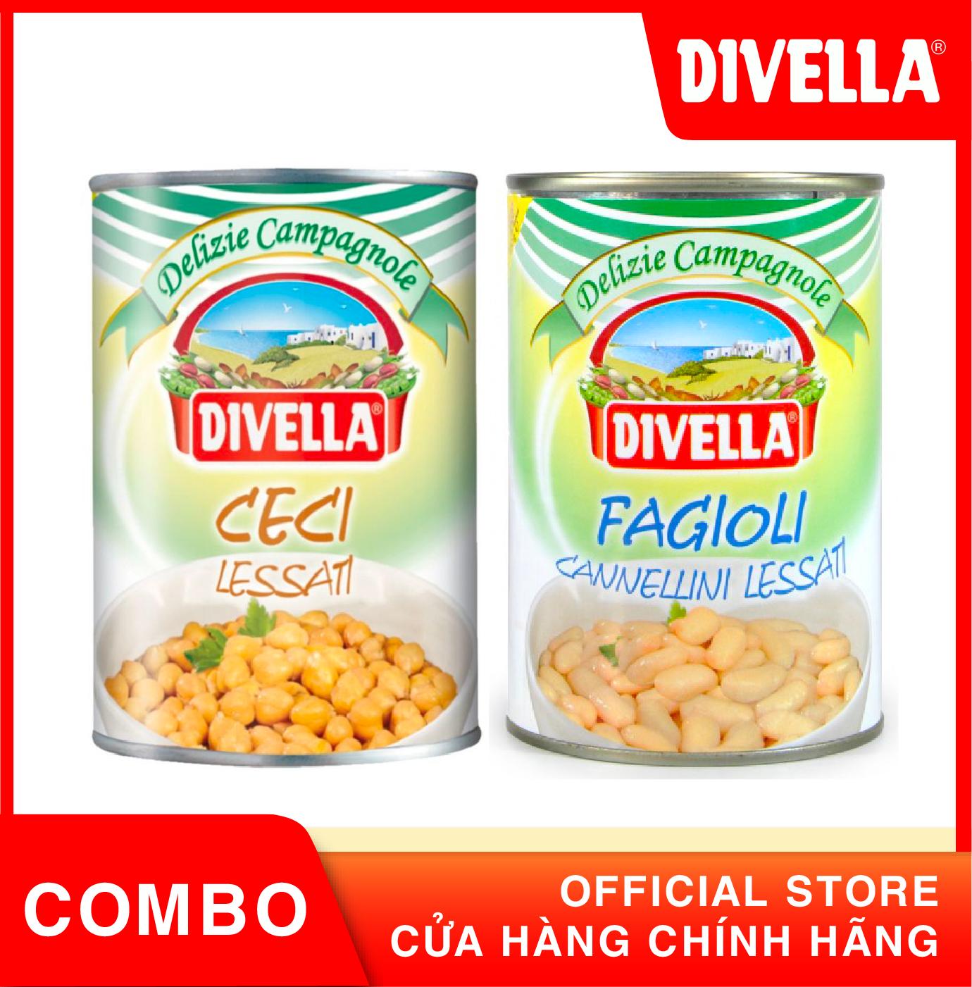 Đậu gà Ceci Chick Pea và Đậu Bơ Trắng Fagioli Divella đóng hộp