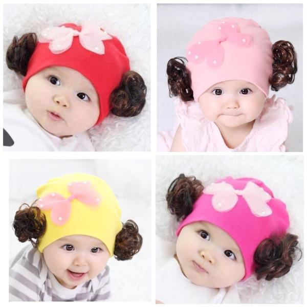 Mũ tóc giả cho bé gái chất cotton mềm