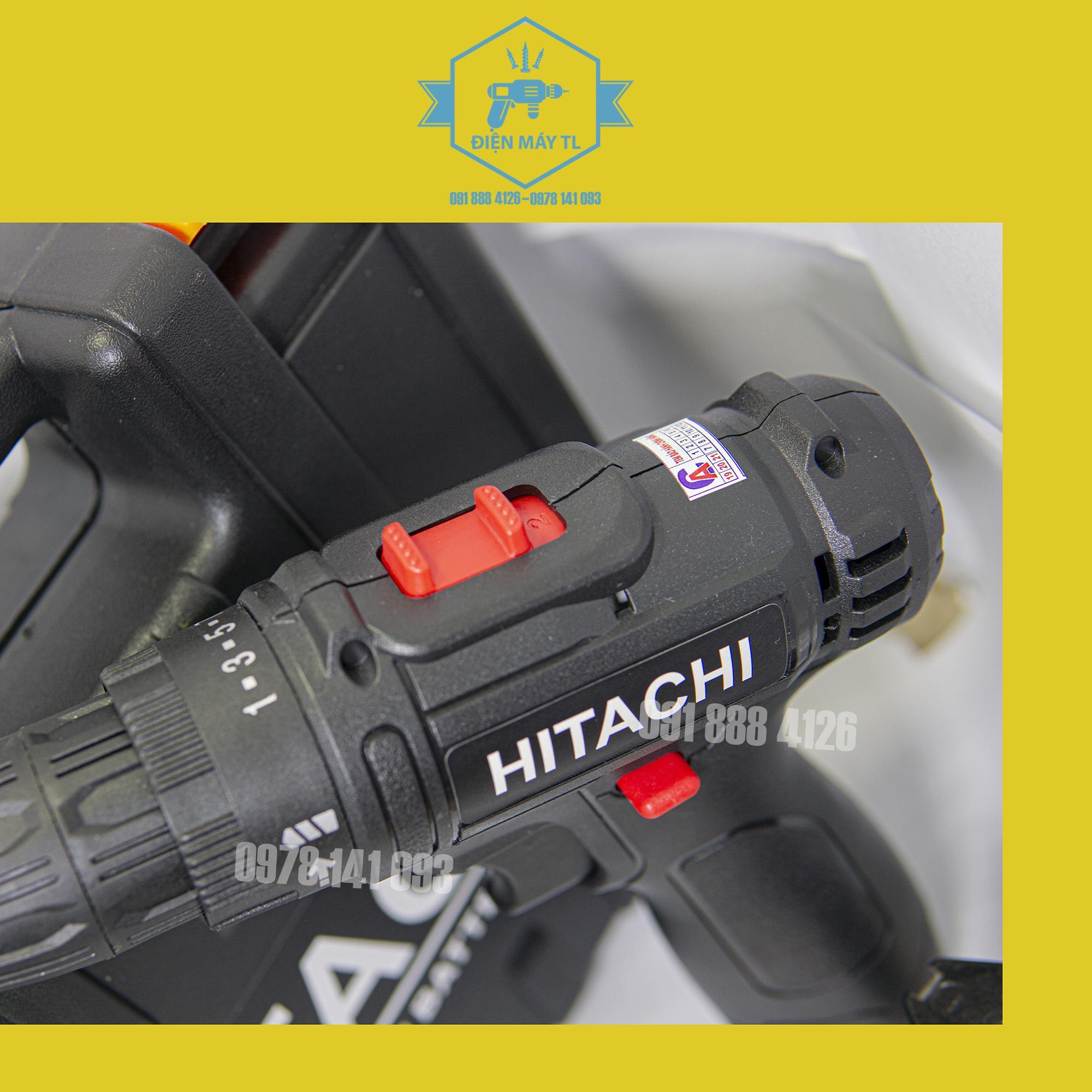Máy khoan pin hitachi 12v tặng kèm mũi vít 4 cạnh 2 đầu , và mũi bắn tôn, cam kết lõi đồng 100%