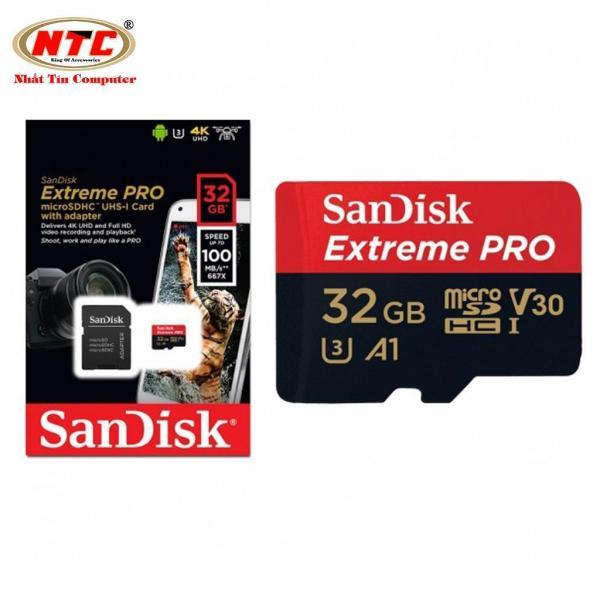 Thẻ nhớ microSDHC Sandisk Extreme Pro A1 32GB 667X V30 UHS-I U3 100MB/s (Đen)