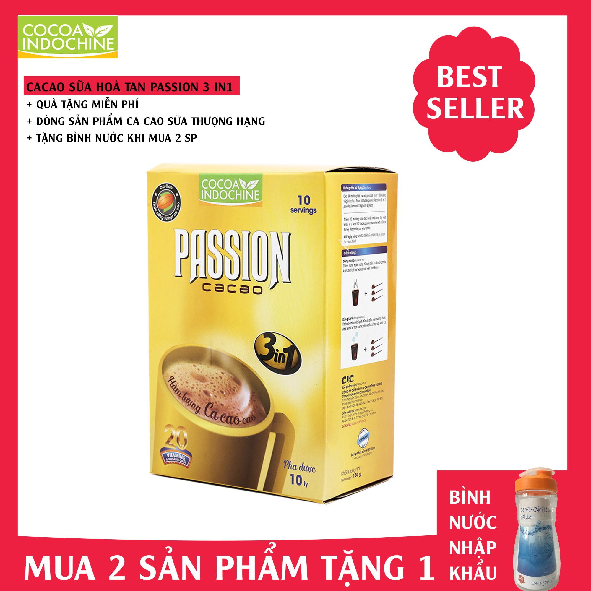 Bột Cacao sữa Passion 3 in 1 - Cocoa Indochine (hộp 150g)