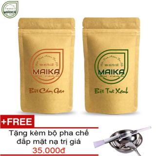 Combo Bô t Trà Xanh + Bột Cám Gạo - Nguyên Châ t MK Farm - (50g túi) + Tặng Bộ Đắp Mặt thumbnail