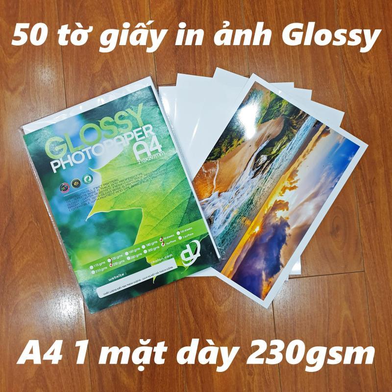 50 tờ Giấy In Ảnh A4 230gsm Glossy Bóng 1 mặt (chuyên để rửa ảnh, in ảnh từ máy in phun và laser)