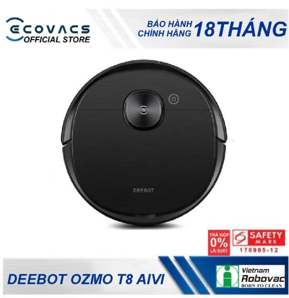 """Robot hút bụi lau nhà thông minh Ecovacs Deebot OZMO T8 AIVI - Bản quốc tế, bảo hành chính hãng 18 tháng,kết hợp giữa trí tuệ nhân tạo """"AIVI"""""""
