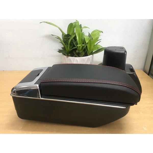 Hộp tỳ tay theo xe Grand I10 2014-2019- màu đen - có 2 ngăn và 7 cổng cắm USB mẫu M01, lắp đặt dễ dàng, nhanh chóng,khôngkhoan đục, bắt vít.