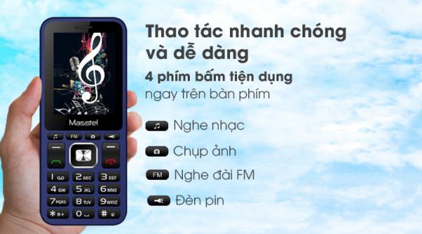 Điện thoại Masstel IZI 206 2 Sim Dành Cho Người Già Pin Trâu Điện Thoại Phổ Thông Cục Gach Giá Rẻ FULLBOX