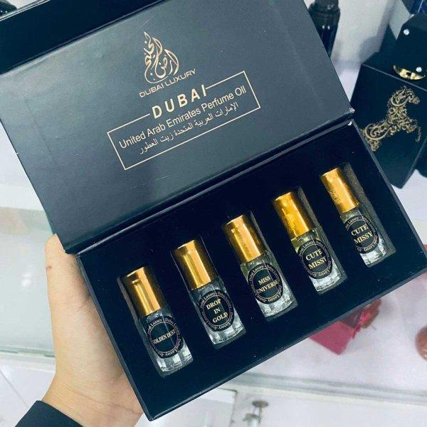 Set 5 chai tinh dầu nước hoa Dubai mini hương thơm đa dạng - MIMOSAA