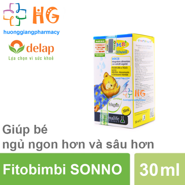 Fitobimbi Sonno - Thảo dược châu âu giúp bé ngủ ngon, dành cho trẻ khó ngủ, ngủ không sâu giấc (Chai 30ml) nhập khẩu