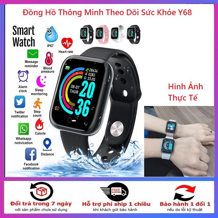 [Tặng khẩu trang y tế 4 lớp/vải kháng khuẩn] Vòng đeo tay theo dõi sức khỏe band M3/Y68 đo nhịp tim huyết áp    đồng hồ thông minh Y68, Đồng hồ theo dõi sức khỏe,vòng theo dõi sức khỏe Y68 giá rẻ hơn miband 3,4