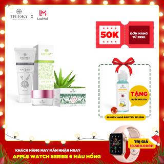Bộ sản phẩm làm mờ nám da mặt Truesky V01 gồm 1 kem nám Melasma Cream 8g và một sữa rửa mặt nha đam Arbutin Cleanser 60ml thumbnail