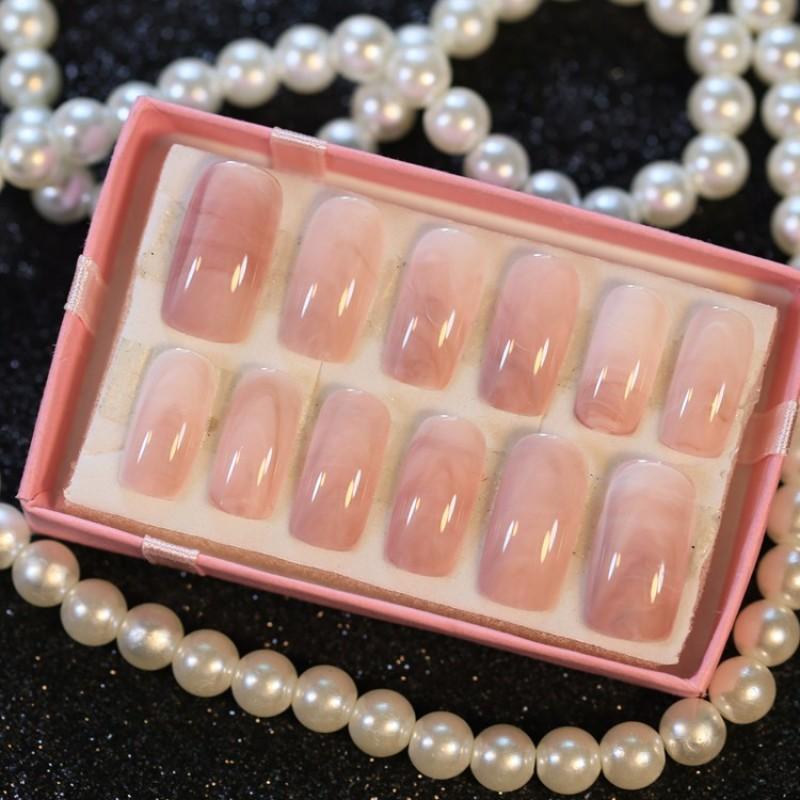 Forevrlily 24 chiếc móng tay giả bằng đá cẩm thành dài kiểu móng hình vuông thiết kế có keo dán dành cho phụ nữ giá tốt - INTL giá rẻ