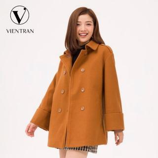 Áo dạ nữ cổ đức tay dài xếp ly to Vien Tran V65W19T010 (Nâu) thumbnail