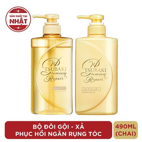 Bộ đôi gội xả Phục hồi ngăn rụng tóc Premium Repair Tsubaki 490ml/chai giá rẻ