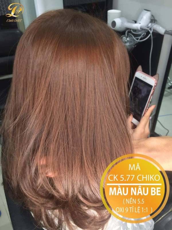 Thuốc nhuộm tóc màu nâu be (CK 5.77) KHÔNG TẨY + TẶNG kèm trợ nhuộm cao cấp