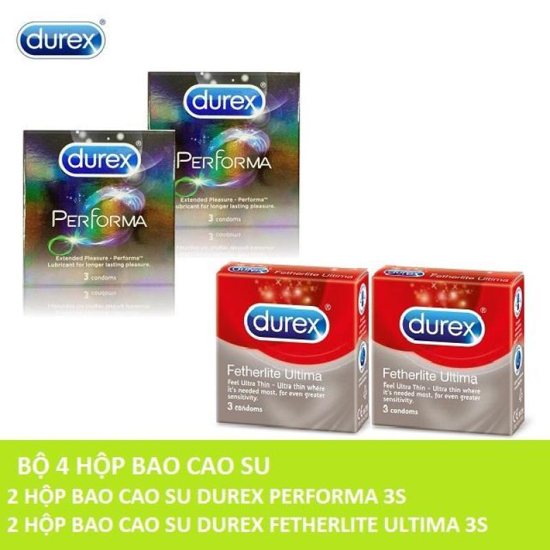 Bộ 4 Hộp 12Pcs ( 2 Bao cao su Durex Performa 3s + 2 Bao cao su Durex Fetherlite Ultima 3s ) - Hãng phân phối chính thức cao cấp