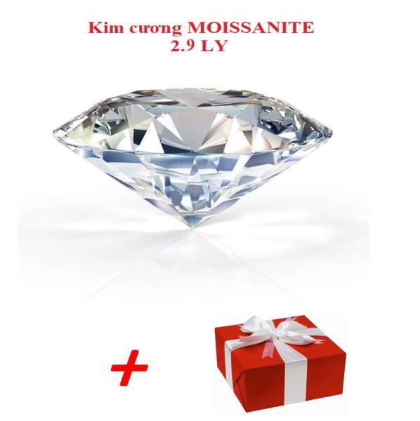 Đá đính răng -Kim cương moissanite 2.9 LY nhân tạo +Tặng kèm 1 trang sức bạc + Hộp.