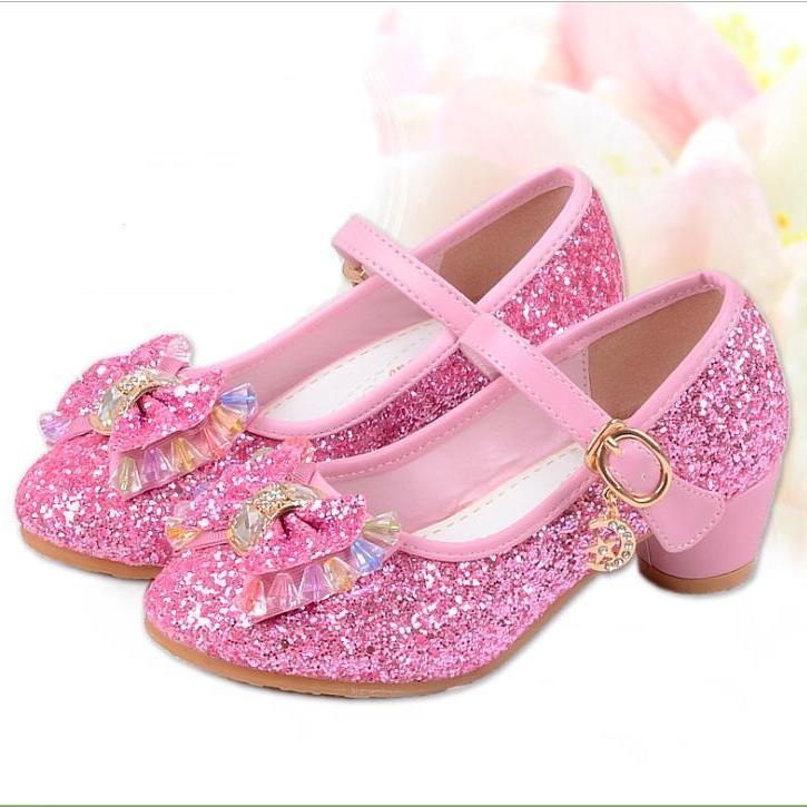 Giá bán Giày công chúa bé gái cao gót nơ đính đá ngũ sắc từ 3 - 13 tuổi