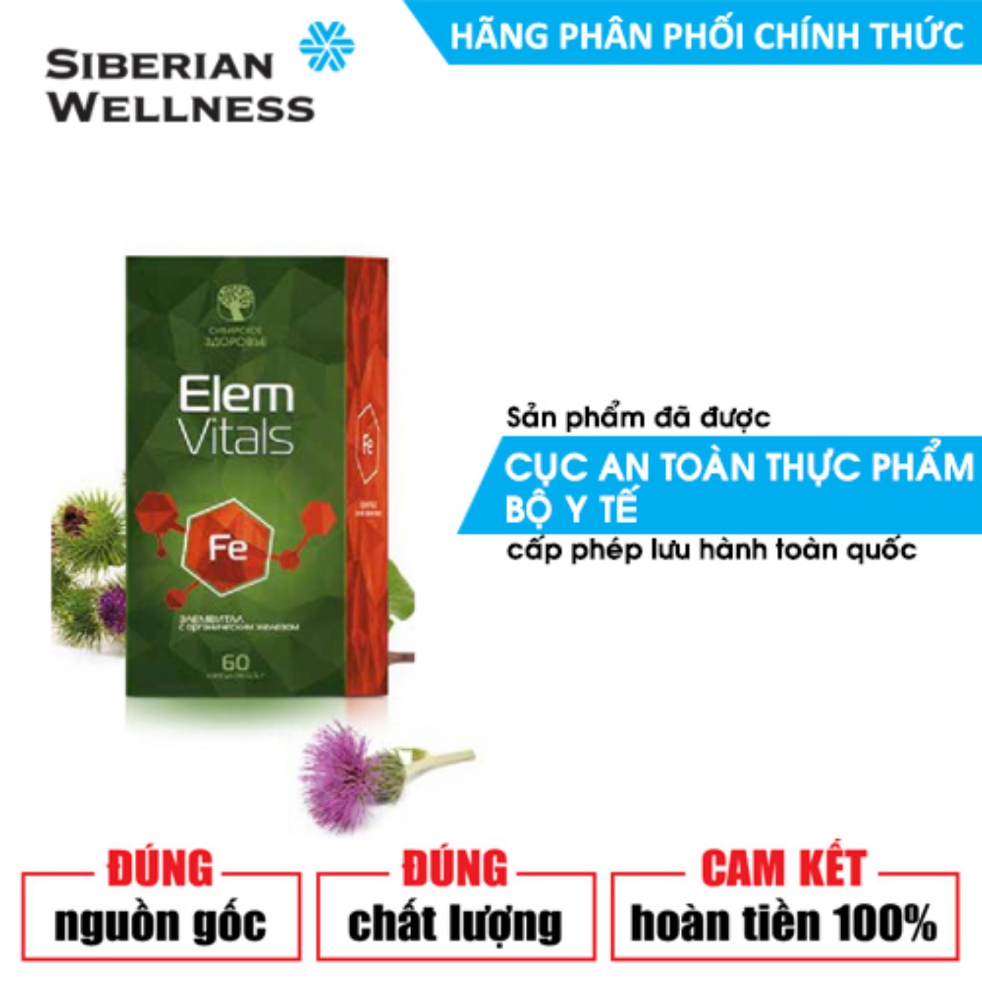 TPCN hỗ trợ quá trình tạo máu và hồng cầu, giúp phòng ngừa thiếu máu do thiếu sắt Elemvitals Iron with Siberian herbs (Siberian Health) - Hãng phân phối chính thức