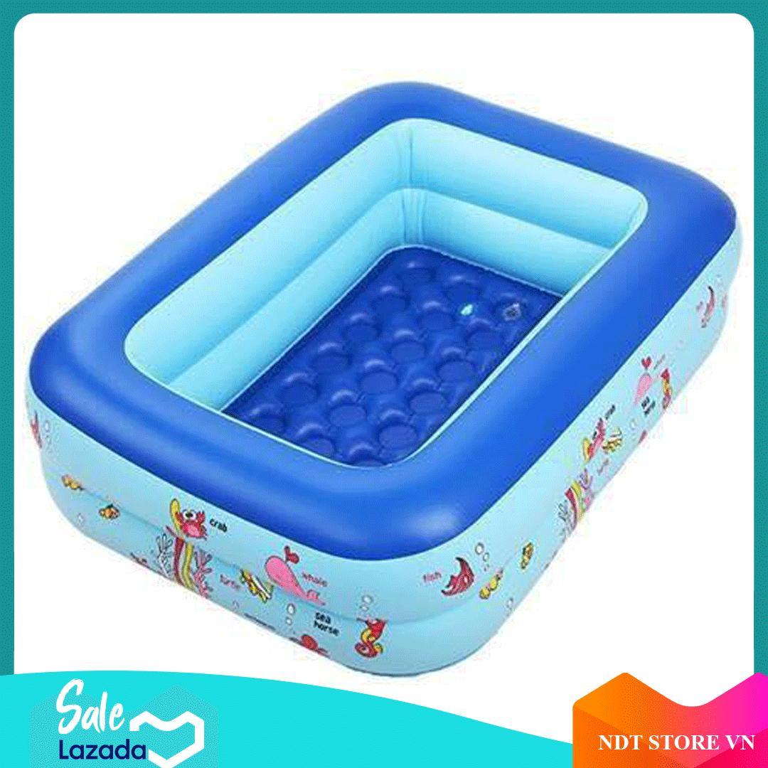 [Tặng Bơm + keo vá bể] Bể bơi phao 2 tầng hình chữ nhật Size 120x95x35 cho bé - Hồ bơi cho trẻ 1,2m + Bơm bể bơi