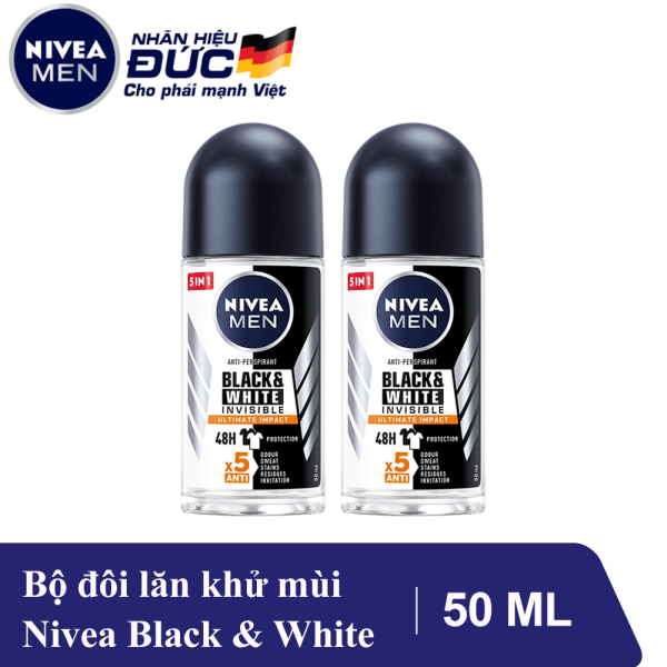 Combo 2 Lăn Ngăn Mùi Giảm Hình Thành Vệt Ố Vàng Trên Quần Áo Nivea Men Invisible For Black And White 50ml - 82245 giá rẻ