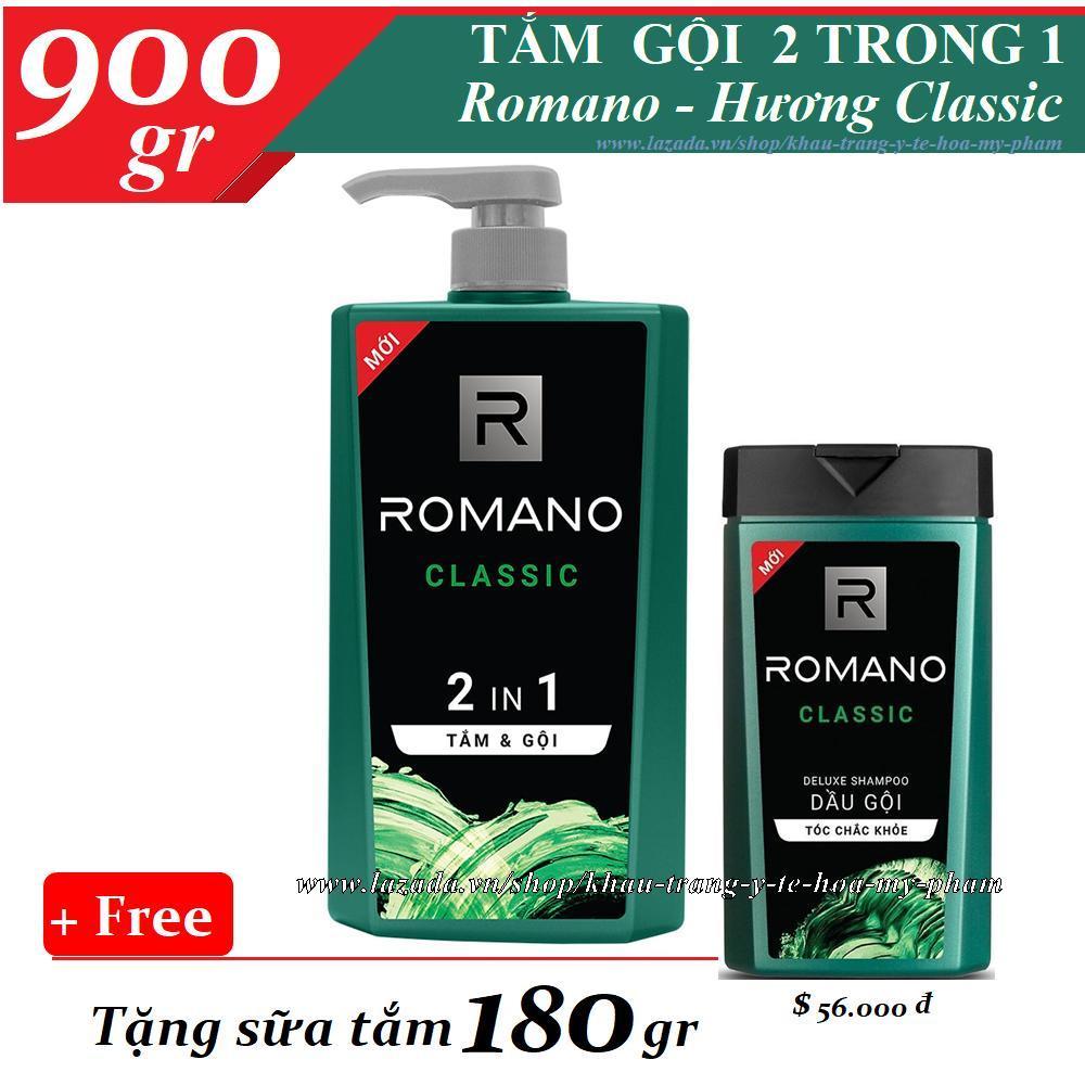 Romano - Tắm gội 2 trong 1 Classic 900 gr + Tặng dầu gội 180 gr nhập khẩu