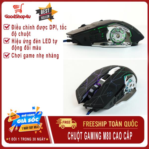 Bảng giá Chuột Gaming có dây M80, hiệu ứng Led đổi màu đặc sắc, DPI 4 mức tùy chỉnh, thiết kế nhỏ gọn, thoải mái khi chơi game-Goodshop4u Phong Vũ