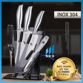 [ HÀNG XỊN - BẢO HÀNH 1 ĐỔI 1 ] Bộ dao Nhật Bản Seki 5 món làm từ thép không gỉ ( có kệ để dao), dao chặt xương, dao thái, kéo, dụng cụ mài dao thumbnail