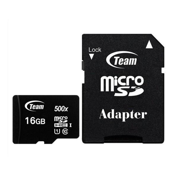 THẺ NHỚ MICRO SDHC TEAM 16GB UPTO 80MB-S 500X KÈM ADAPTER