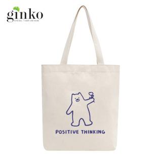 Túi tote vải mộc GINKO dây kéo in hình Positive Thinking M01 thumbnail