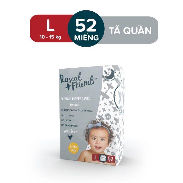 [ĐỘC QUYỀN TẠI LAZADA] - Tã/Bỉm Quần Rascal & Friends cho bé 10kg - 15kg - Size L 52 miếng