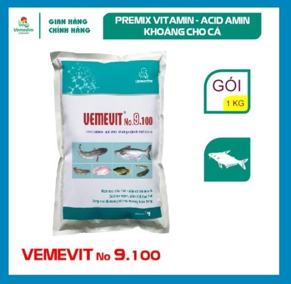 Vemedim Vemevit No. 9.100 cá, sản phẩm premix vitamin- axit amin- khoáng cho cá, gói 1kg