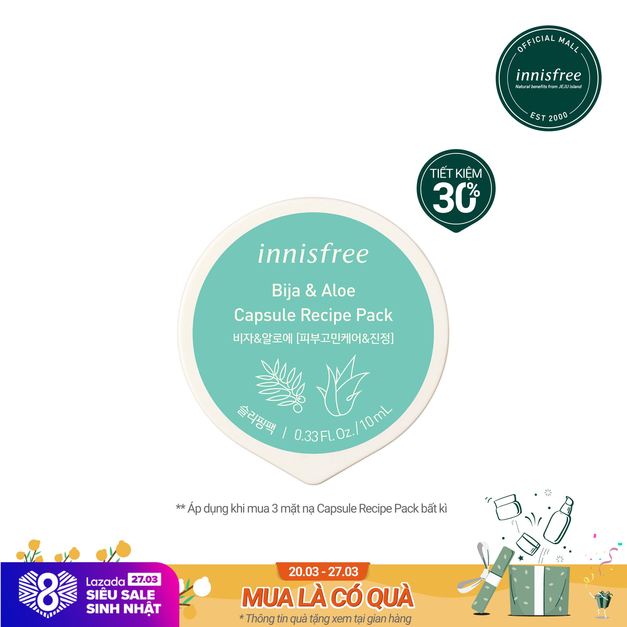 Mặt nạ ngủ dạng hủ từ bija & nha đam innisfree Capsule Recipe Pack Bija & Aloe 10ml cao cấp