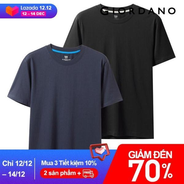 1 cặp  2 áo thun Giordano cổ tròn cao cấp, chất liệu cotton mềm mịn, kiểu dáng đơn giản nam tính - INTL