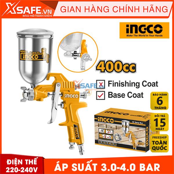 Súng phun sơn INGCO ASG4042. Súng phun sơn đầu phun tiêu chuẩn 1.5mm, áp suất 3.0-4.0 bar, thể tích bình nhôm 400cc, bảo hành chính hãng 6 tháng - Sản phẩm chính hãng XSAFE