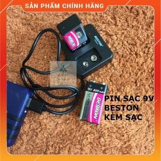Bộ 2 pin sạc 9V 800mAh Beston Chính hãng Kèm sạc M7005 Pin vuông Li-Ion cao cấp Sạc lại nhiều lần thumbnail