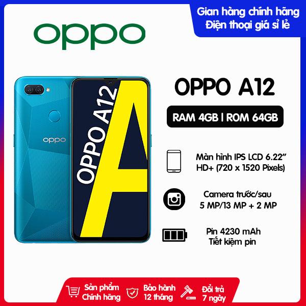 Điện thoại Oppo A12 RAM 4GB, Bộ nhớ trong 64GB - Hàng chính hãng, mới 100%, Nguyên Seal, bảo hành 12 tháng