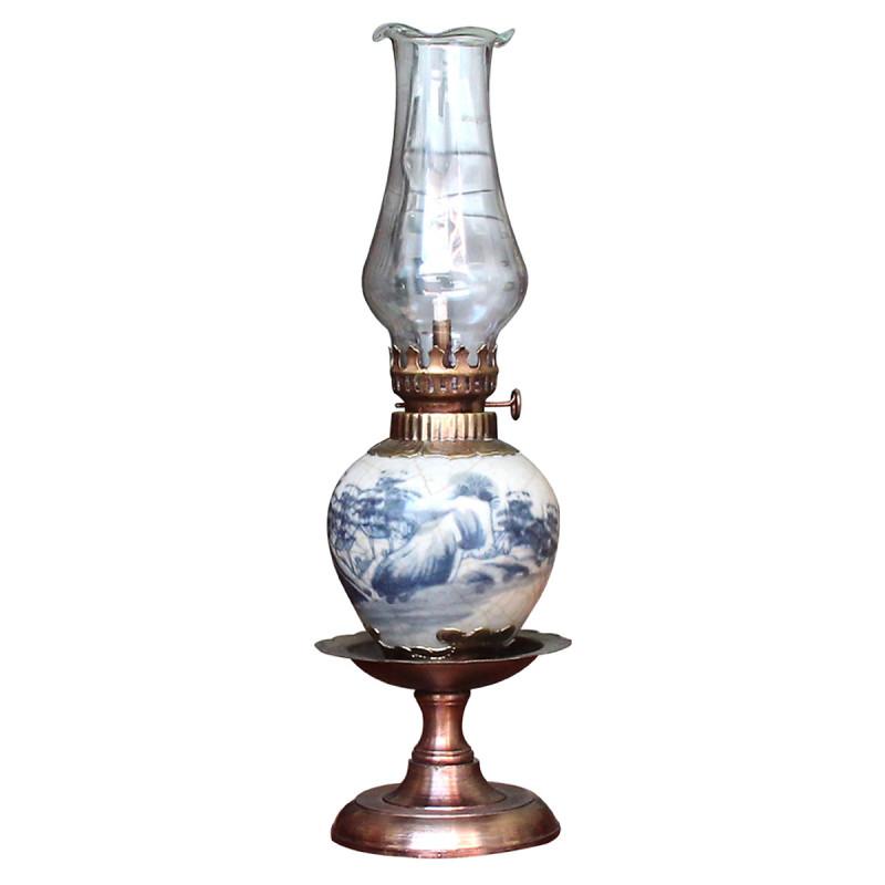 Đèn thờ dầu men rạn vẽ phong cảnh chân đồng thấp gốm sứ Bát Tràng (đèn dầu, đèn thờ cúng)