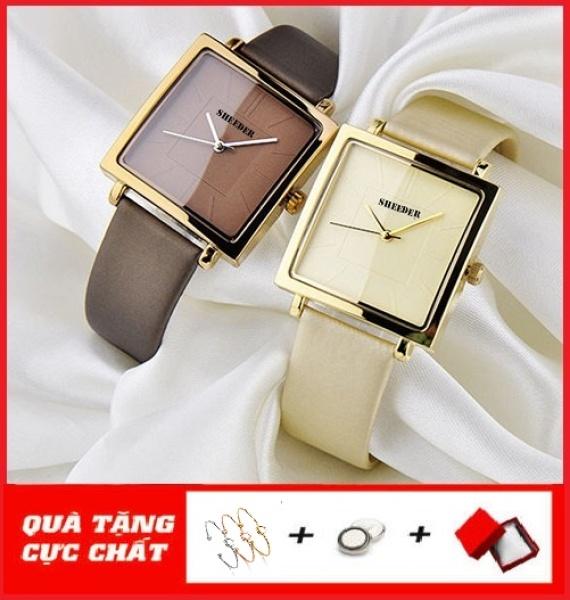 Nơi bán Đồng hồ nữ SHEEDER mặt vuông dây da cao cấp size 36mm
