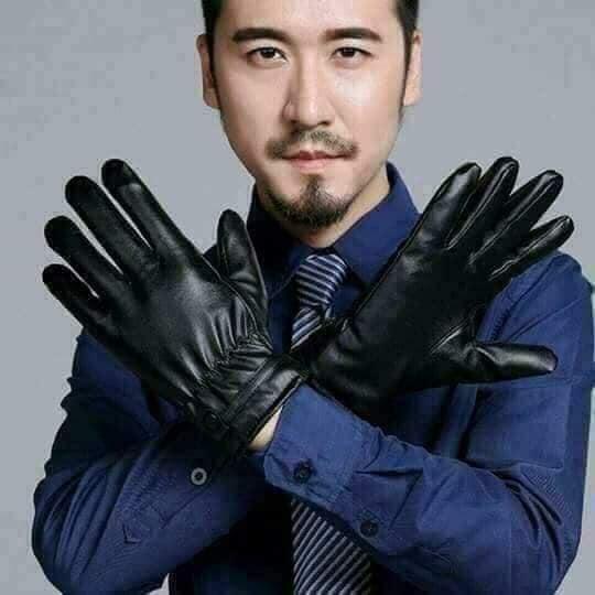 Găng tay da Nam lót lông cảm ứng