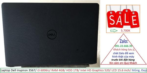 Bảng giá Laptop Dell Inspiron 3567/ i3 6006U/ RAM 4GB/ HDD 1TB/ Intel HD Graphics 520/ LCD 15.6 inch/ Mỏng, Đẹp Phong Vũ