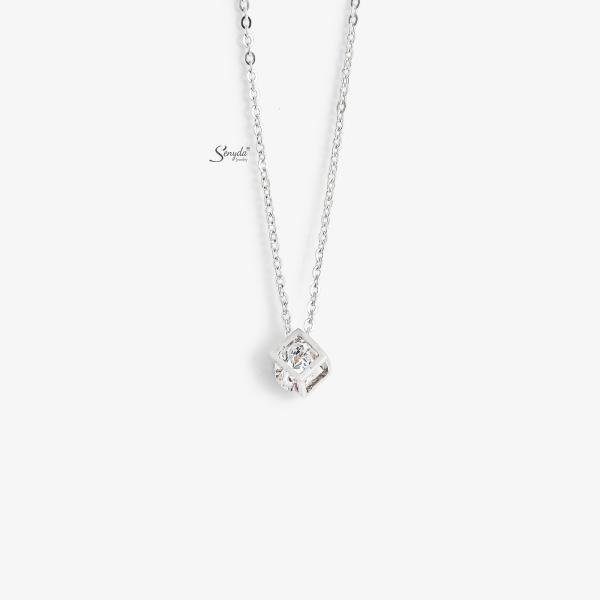 Dây chuyền bạc Senyda cubi đá trắng xỏ DC164