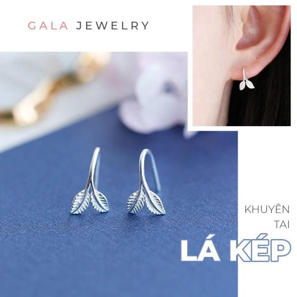 Bông tai nữ Gala hình Lá Kép KT07, khuyên tai dạng móc cá tính chất liệu bạc 925
