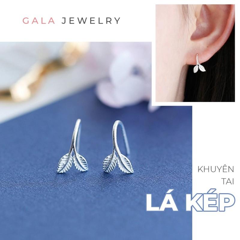 Khuyên tai nữ Gala hình Lá Kép KT07 - bông tai bạc 925 dạng móc cá tính