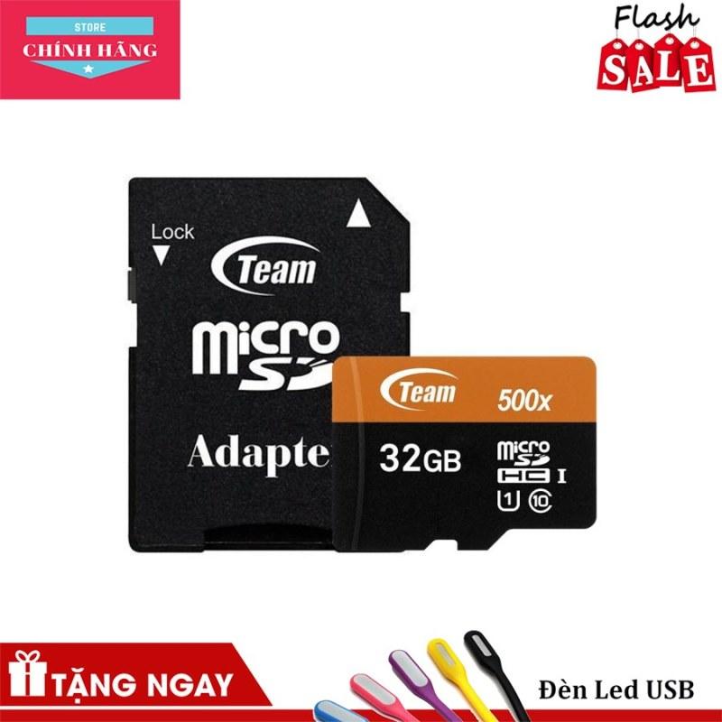 Thẻ nhớ microSDHC Team 32GB 500x upto 80MB/s class 10 U1 kèm Adapter (Cam)+đầu đọc thẻ