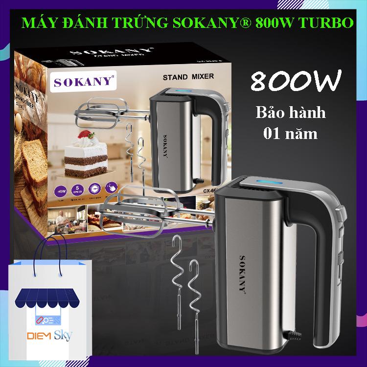 Máy đánh trứng, trộn bột SOKANY Turbo 800W, chính hãng 5 tốc độ, vỏ inox sáng bóng, siêu bền đẹp, máy đánh trứng cầm tay bảo hành 1năm