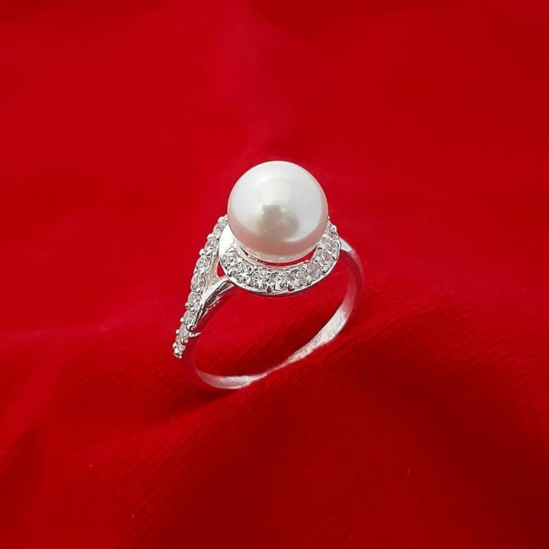 Nhẫn nữ ngọc trai nhân tạo size 8ly chất liệu bạc thật không xi mạ, có thể chỉnh size tay theo yêu cầu, phong cách sang trọng thích hợp đeo thời trang ,làm quà tặng  - BS1QTNU15
